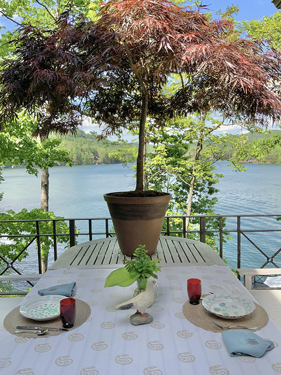Outdoor dining table by a lake