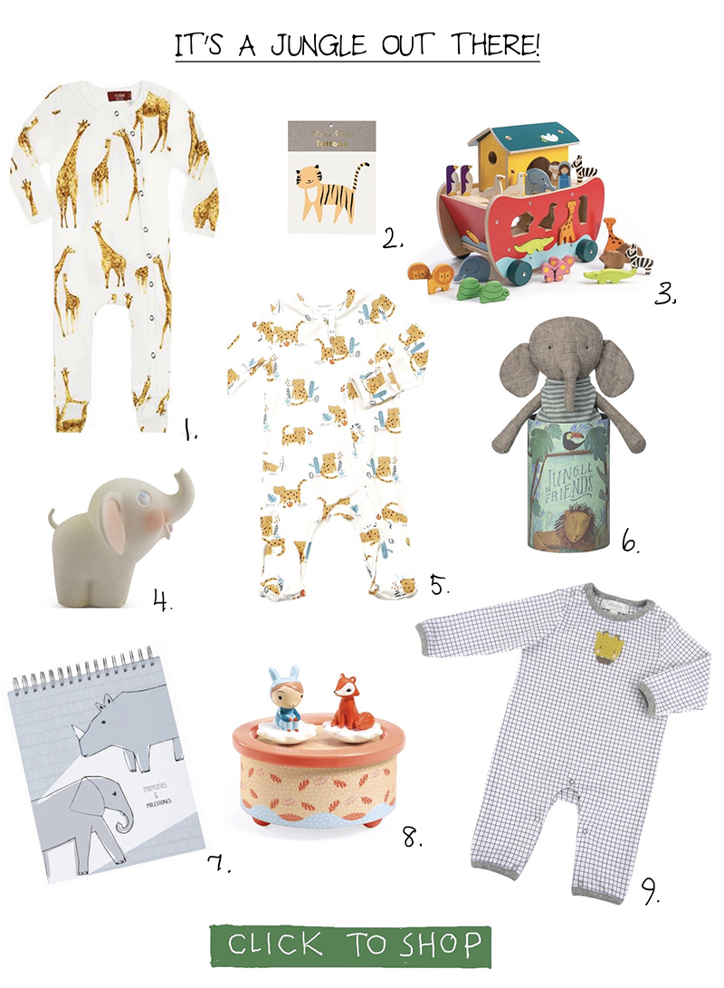 jungle-themed baby gear from sprout in fearrington village