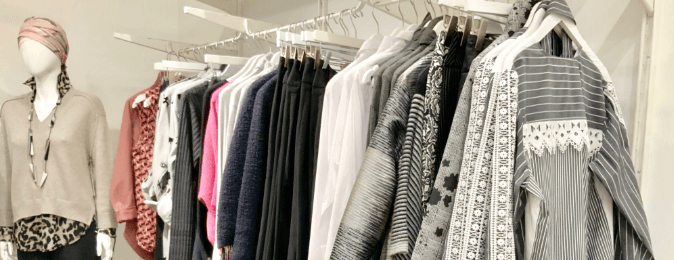 Clothes on a rack at Dovecote