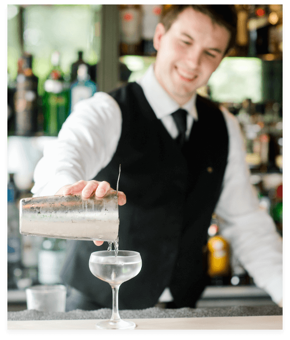 Bartender at the Fearrington House making a cocktail