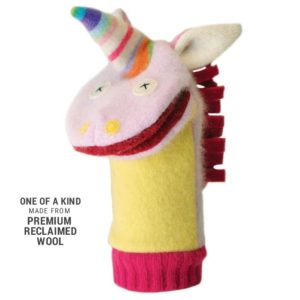 RECLAIMED WOOL UNICORN HAND PUPPET