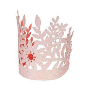 SET OF 8 PINK GLITTERED PARTY CROWNS