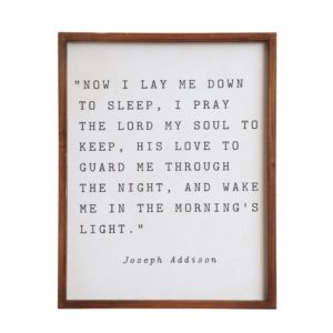 FRAMED QUOTE: NOW I LAY ME DOWN TO SLEEP
