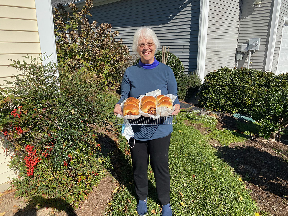 Donna Fehrenbach with baked goodies