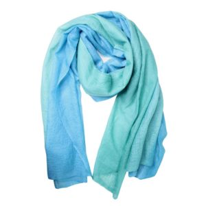 KAS CASHMERE – HAND-LOOMED WRAP IN OMBRE BLUEBIRD MORNING