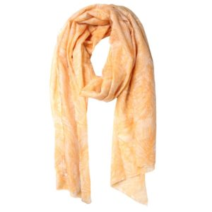 KAS CASHMERE – HAND-LOOMED WRAP IN FEATHER PRINT SALMON