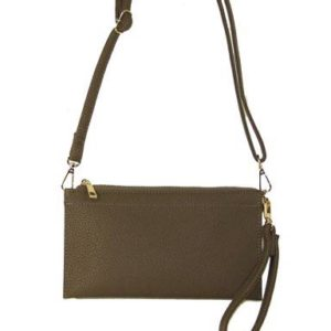 VEGAN PEBBLED LEATHER CLUTCH IN OLIVE