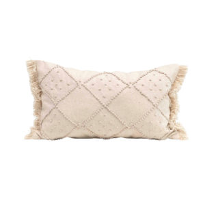 CREAM LUMBAR PILLOW WITH FRENCH KNOTS AND FRINGE
