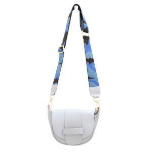 LEATHER CROSSBODY BAG – BABY BLUE WITH CAMO STRAP