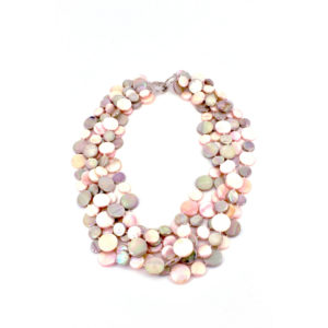 5 STRAND MOTHER OF PEARL NECKLACE – TAUPE/PINK