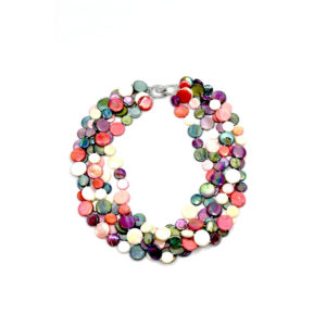 5 STRAND MOTHER OF PEARL NECKLACE – GARDEN