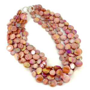5 STRAND MOTHER OF PEARL NECKLACE – SALMON