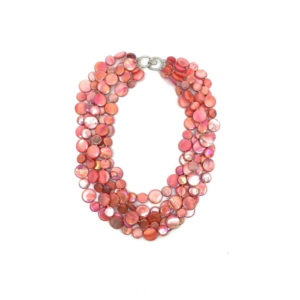 5 STRAND MOTHER OF PEARL NECKLACE – CORAL
