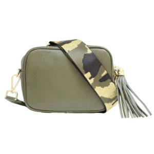 LEATHER CROSSBODY BAG WITH TASSEL IN OLIVE