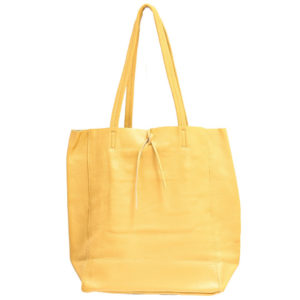 LEATHER TOTE – MUSTARD