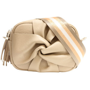 LEATHER CROSSBODY FLORAL BAG WITH TASSEL IN TAUPE