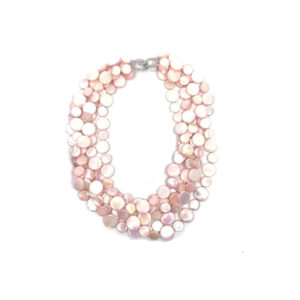 5 STRAND MOTHER OF PEARL NECKLACE – PINK