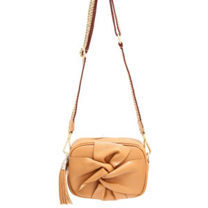 LEATHER CROSSBODY FLORAL BAG WITH TASSEL IN CAMEL