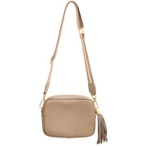 LEATHER CROSSBODY BAG WITH TASSEL IN TAUPE