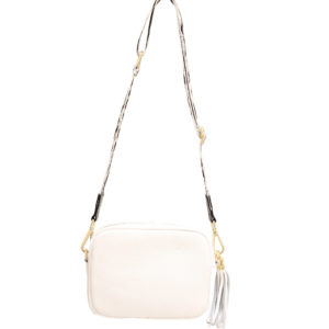 LEATHER CROSSBODY BAG WITH TASSEL IN WHITE