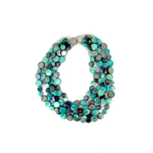 5 STRAND MOTHER OF PEARL NECKLACE – TEAL