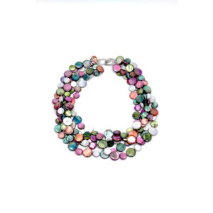 5 STRAND MOTHER OF PEARL NECKLACE IN BERRY, TEAL AND GREY