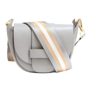 LEATHER CROSSBODY BAG – GREY WITH STRIPED STRAP
