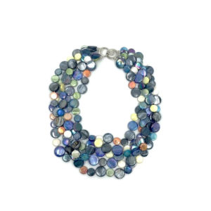 5 STRAND MOTHER OF PEARL NECKLACE – NAVY