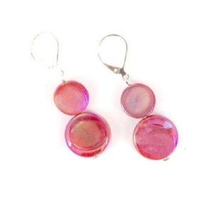 MOTHER OF PEARL EARRINGS – CORAL