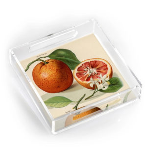 BLOOD ORANGE SQUARE LUCITE AND RESIN TRAY