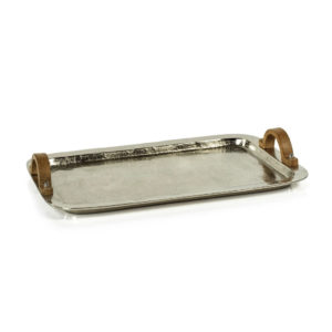 ALUMINUM TRAY WITH WOOD HANDLES