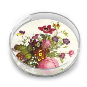 FLORAL ROUND LUCITE AND RESIN TRAY