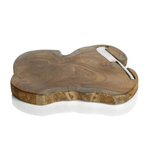 TEAK ROOT SERVING BOARD WITH KNIFE
