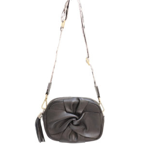 LEATHER CROSSBODY FLORAL BAG WITH TASSEL IN BLACK