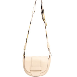 LEATHER CROSSBODY BAG – BEIGE WITH CAMO STRAP