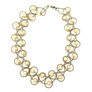 BRONZE LACE NECKLACE WITH GOLD PEARLS