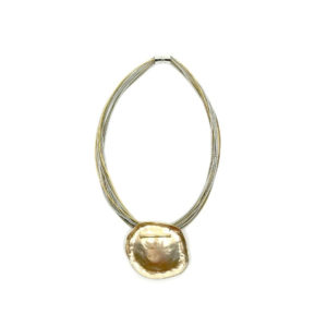 SILVER AND GOLD WIRE NECKLACE WITH GOLD DISC