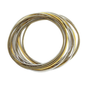SILVER, BRONZE AND GOLD MULTI STAND BRACELET