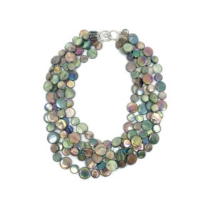 5 STRAND MOTHER OF PEARL NECKLACE IN BROWN AND GREEN
