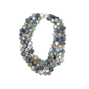 5 STRAND MOTHER OF PEARL NECKLACE IN BROWN AND GREY
