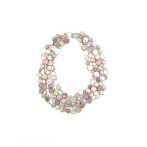 5 STRAND MOTHER OF PEARL NECKLACE IN SALMON AND TAUPE