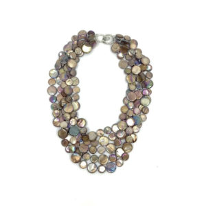 5 STRAND MOTHER OF PEARL NECKLACE IN CHOCOLATE