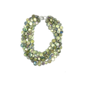 5 STRAND MOTHER OF PEARL NECKLACE IN GREEN