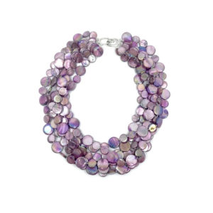5 STRAND MOTHER OF PEARL NECKLACE IN PURPLE