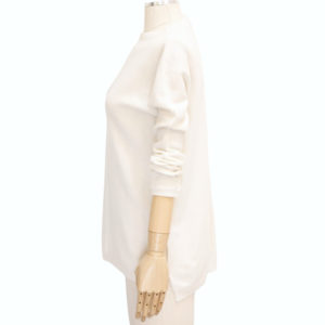 KINROSS – EASY SEAMED CASHMERE FUNNEL IN PEARL