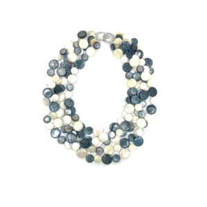 5 STRAND MOTHER OF PEARL NECKLACE IN BLACK AND WHITE