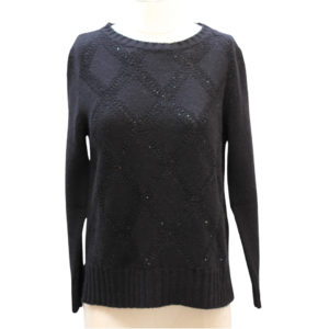 BOATNECK SWEATER WITH DIAMOND SEQUIN – BLACK
