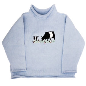 FEARRINGTON COLLECTION – BELTED BARNYARD ROLLNECK SWEATER IN BLUE (12 MONTH)